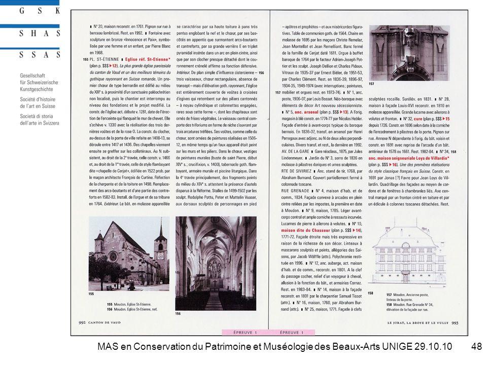 48MAS en Conservation du Patrimoine et Muséologie des Beaux-Arts UNIGE 29.10.10