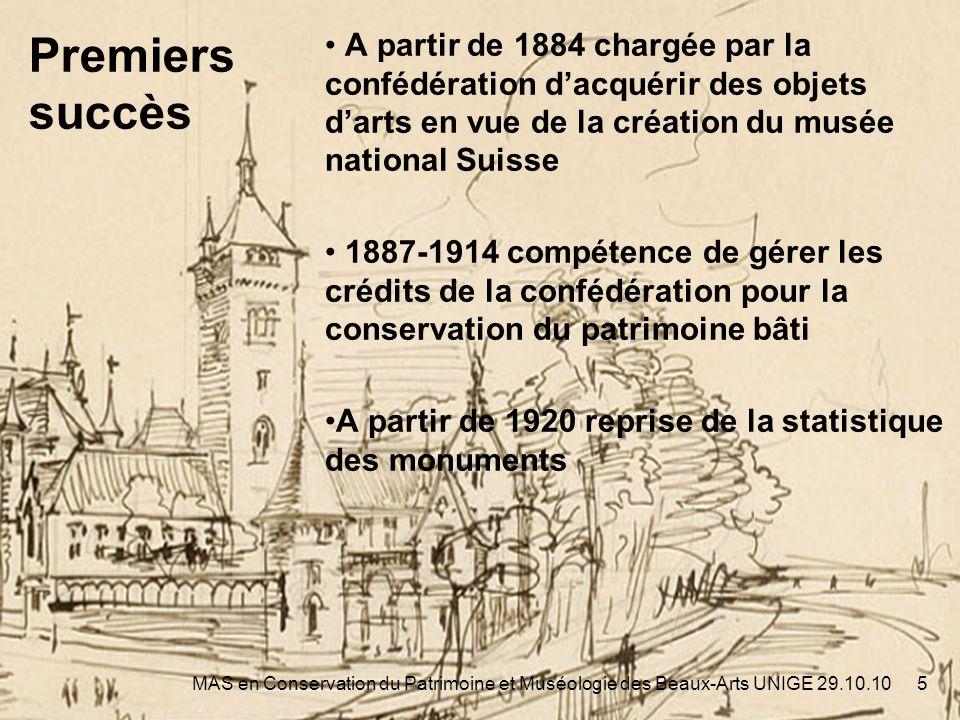 Statistique des monuments 6MAS en Conservation du Patrimoine et Muséologie des Beaux-Arts UNIGE 29.10.10