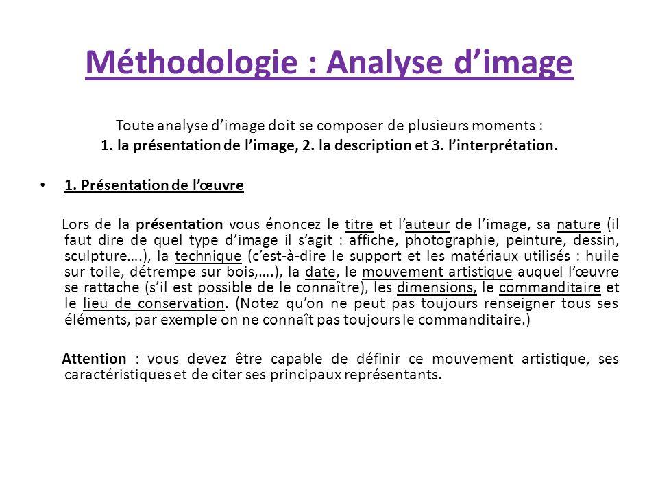 Méthodologie : Analyse dimage Toute analyse dimage doit se composer de plusieurs moments : 1. la présentation de limage, 2. la description et 3. linte
