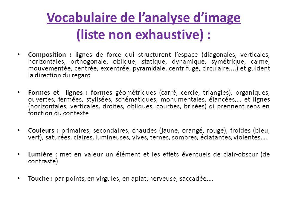 Vocabulaire de lanalyse dimage (liste non exhaustive) : Composition : lignes de force qui structurent lespace (diagonales, verticales, horizontales, o