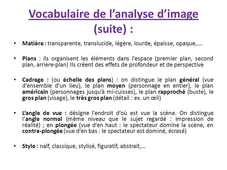 Vocabulaire de lanalyse dimage (suite) : Matière : transparente, translucide, légère, lourde, épaisse, opaque,…. Plans : ils organisent les éléments d