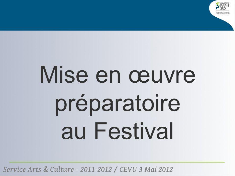 Mise en œuvre préparatoire au Festival