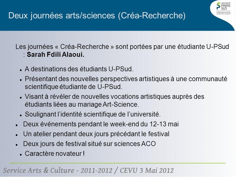 Deux journées arts/sciences (Créa-Recherche) Les journées « Créa-Recherche » sont portées par une étudiante U-PSud : Sarah Fdili Alaoui.