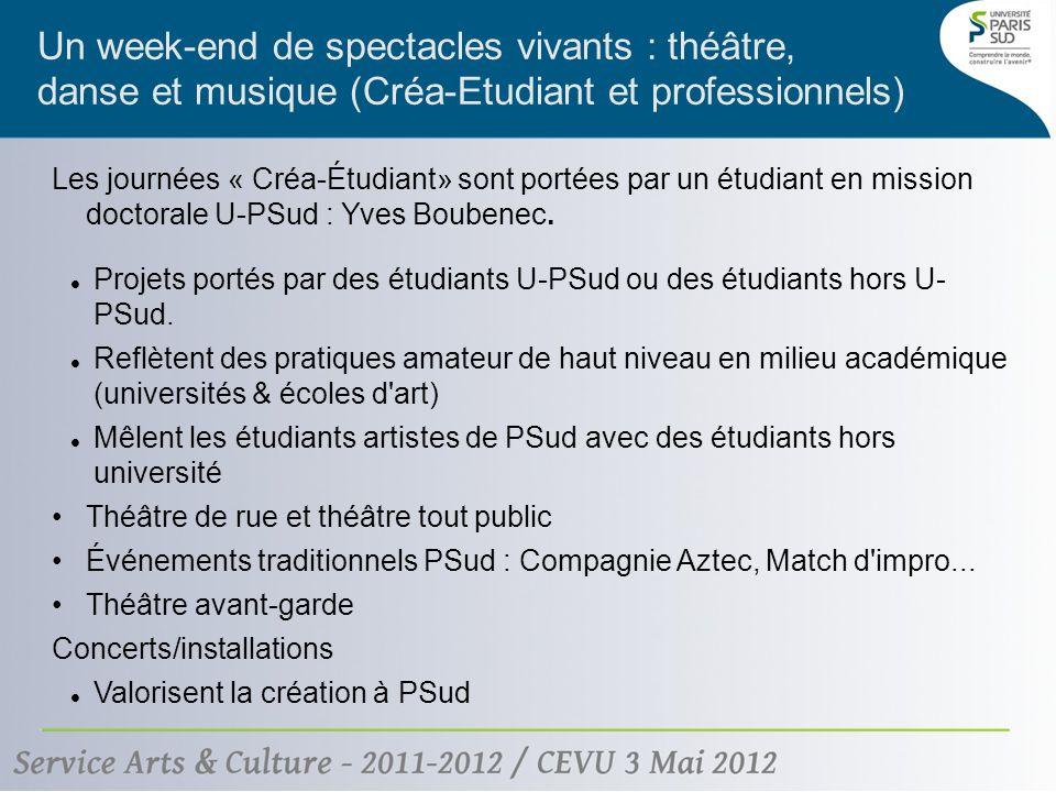 Un week-end de spectacles vivants : théâtre, danse et musique (Créa-Etudiant et professionnels) Les journées « Créa-Étudiant» sont portées par un étudiant en mission doctorale U-PSud : Yves Boubenec.