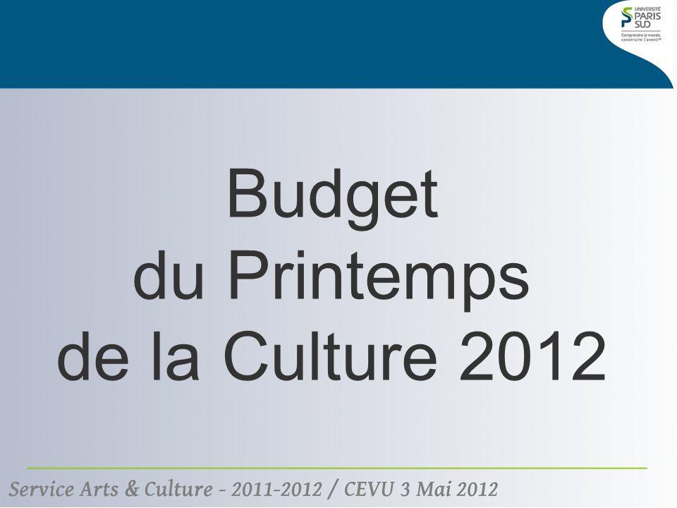 Budget du Printemps de la Culture 2012