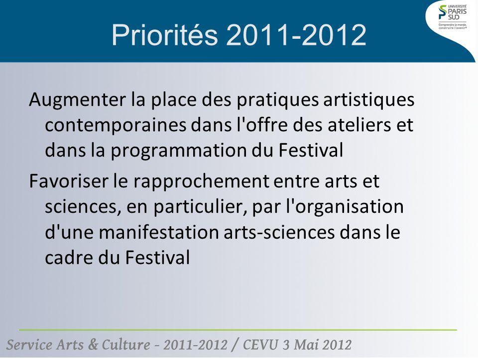 Augmenter la place des pratiques artistiques contemporaines dans l offre des ateliers et dans la programmation du Festival Favoriser le rapprochement entre arts et sciences, en particulier, par l organisation d une manifestation arts-sciences dans le cadre du Festival