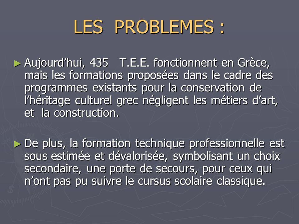 LES PROBLEMES : Aujourdhui, 435 T.E.E. fonctionnent en Grèce, mais les formations proposées dans le cadre des programmes existants pour la conservatio