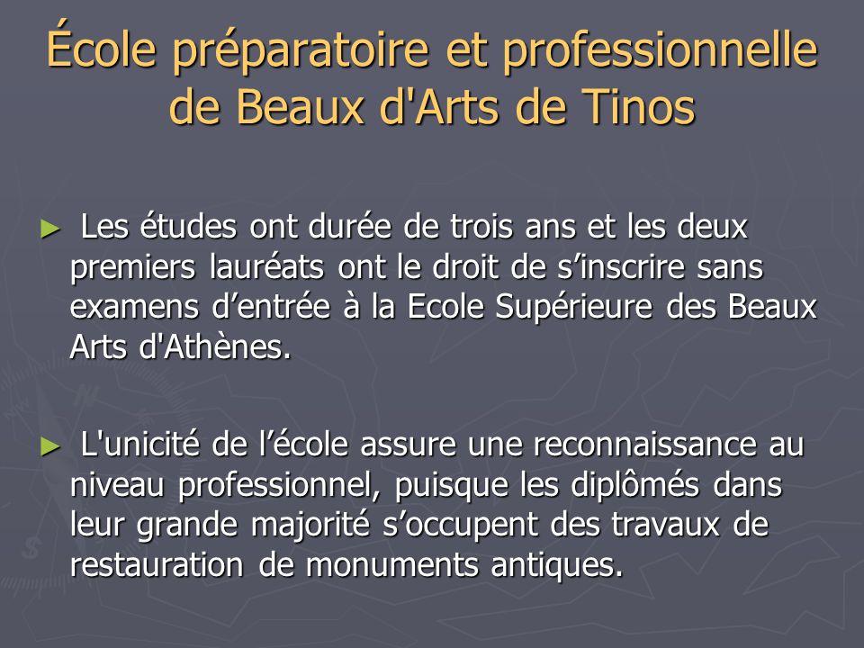 École préparatoire et professionnelle de Beaux d'Arts de Tinos Les études ont durée de trois ans et les deux premiers lauréats ont le droit de sinscri