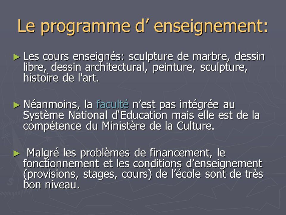 Le programme d enseignement: Les cours enseignés: sculpture de marbre, dessin libre, dessin architectural, peinture, sculpture, histoire de l'art. Les