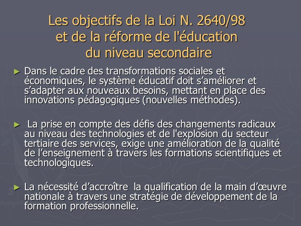 Les objectifs de la Loi N. 2640/98 et de la réforme de l'éducation du niveau secondaire Dans le cadre des transformations sociales et économiques, le