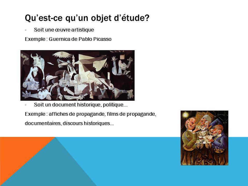 Quest-ce quun objet détude? -Soit une œuvre artistique Exemple : Guernica de Pablo Picasso -Soit un document historique, politique... Exemple : affich