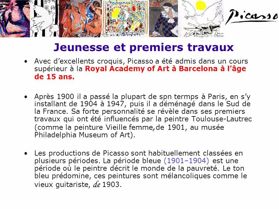 Jeunesse et premiers travaux Avec dexcellents croquis, Picasso a été admis dans un cours supérieur à la Royal Academy of Art à Barcelona à lâge de 15