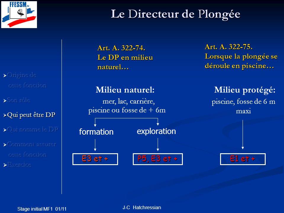 Stage initial MF1 01/11 J-C Hatchressian Il ne suffit pas dêtre « Ex » pour être DP… Cest de la responsabilité du Président dun club associatif, ou du patron de la SCA, de nommer les P5 ou « Ex » assurant la fonction de DP au sein de leur structure.
