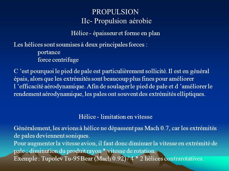 PROPULSION IIc- Propulsion aérobie Hélice - pas variable Certains avions à hélice disposent d un pas variable. Le pas est la distance axiale parcourue