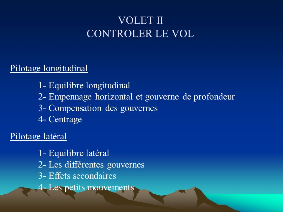 VOLET I SE SOUSTRAIRE A LA TYRANNIE DE LA GRAVITE Introduction 1- Comment voyager en l air ? 2- Architecture d un avion 3- Axes de pilotage 4- Les rep