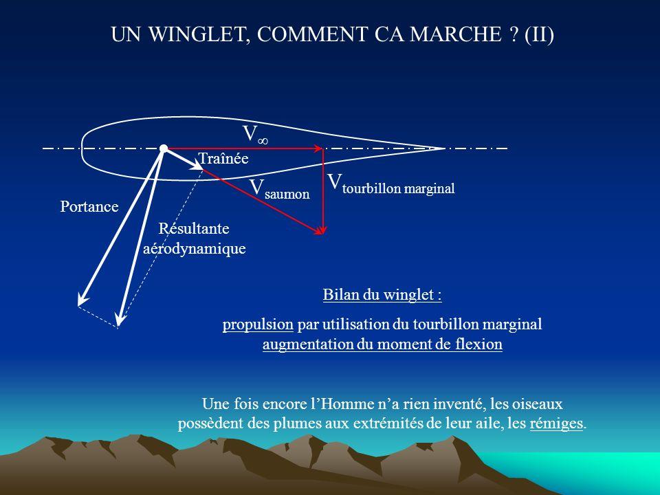 UN WINGLET, COMMENT CA MARCHE ? (I) V Tourbillon marginal Au saumon de voilure, deux écoulements se superposent, la vitesse d avancement et le tourbil