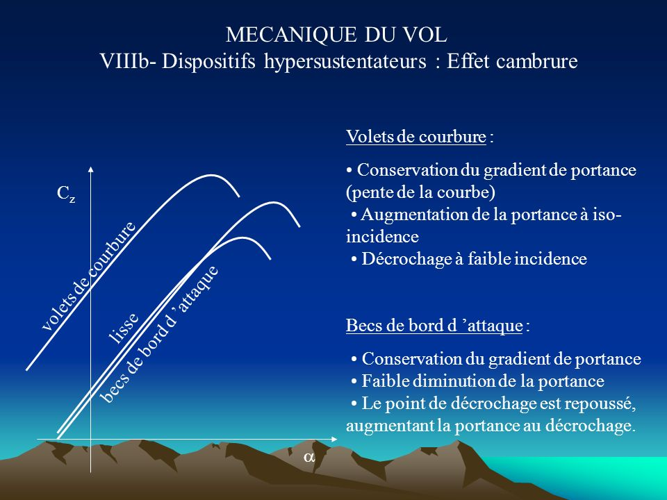 MECANIQUE DU VOL VIIIa- Dispositifs hypersustentateurs : Effet cambrure Augmentation de la cambrure arrière : les filets d air sont plus défléchis ver