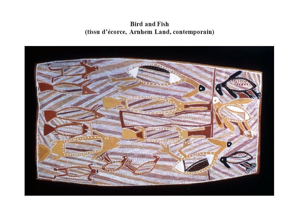 Bird and Fish (tissu décorce, Arnhem Land, contemporain)