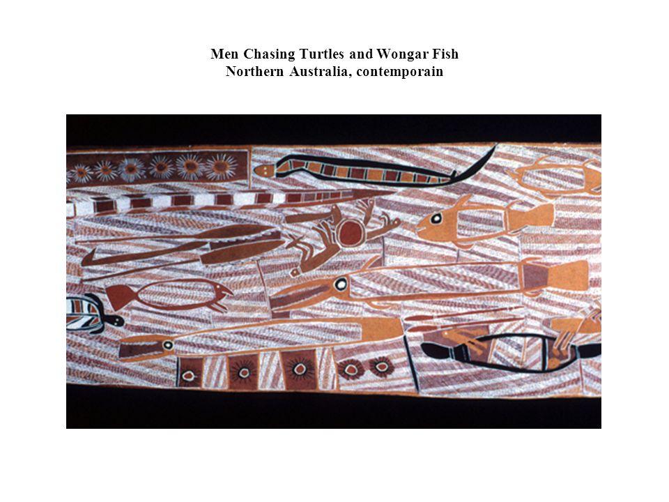 Men Chasing Turtles and Wongar Fish Northern Australia, contemporain