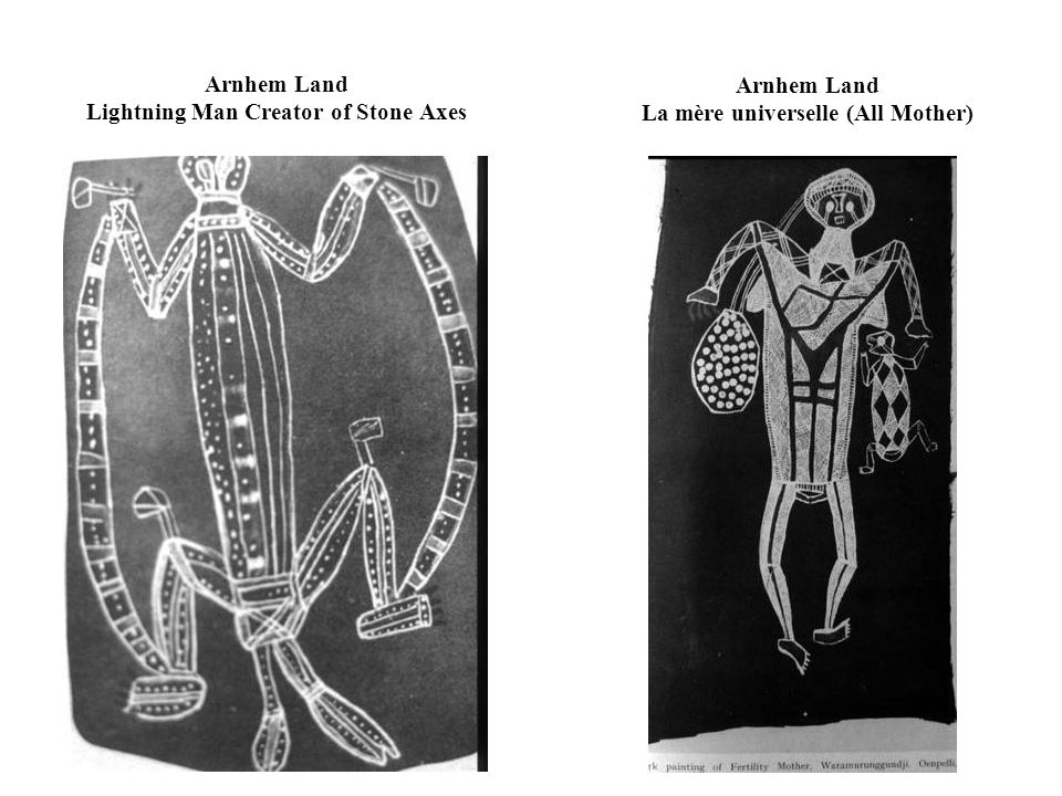 Arnhem Land Ancestral Being Hunting Kangaroos in Forest (contemporain) Central Desert Wanambi Creator and his Voyages