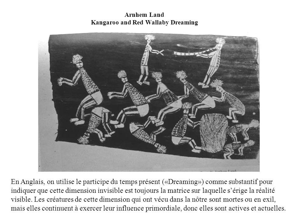 Arnhem Land Kangaroo and Red Wallaby Dreaming En Anglais, on utilise le participe du temps présent («Dreaming») comme substantif pour indiquer que cette dimension invisible est toujours la matrice sur laquelle sérige la réalité visible.