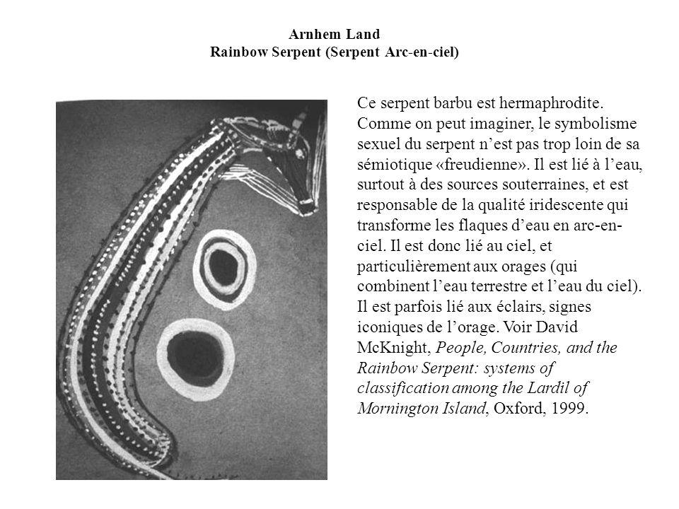 Arnhem Land Rainbow Serpent (Serpent Arc-en-ciel) Ce serpent barbu est hermaphrodite. Comme on peut imaginer, le symbolisme sexuel du serpent nest pas