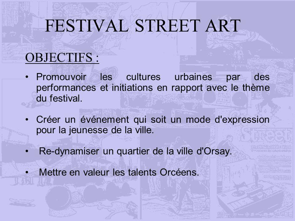 FESTIVAL STREET ART OBJECTIFS : Promouvoir les cultures urbaines par des performances et initiations en rapport avec le thème du festival. Créer un év