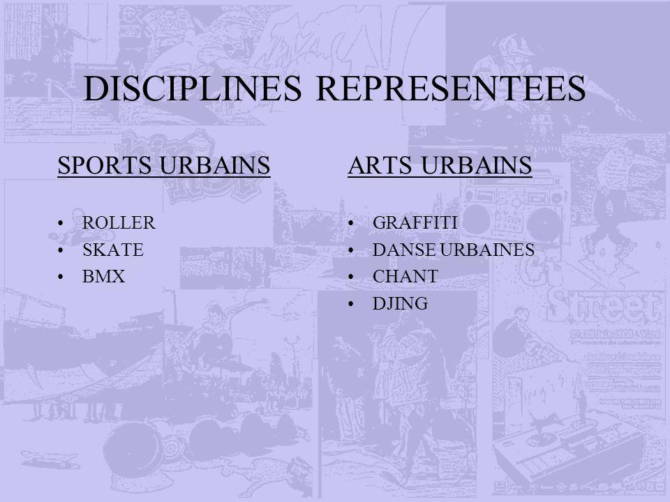 DISCIPLINES REPRESENTEES SPORTS URBAINS ROLLER SKATE BMX ARTS URBAINS GRAFFITI DANSE URBAINES CHANT DJING