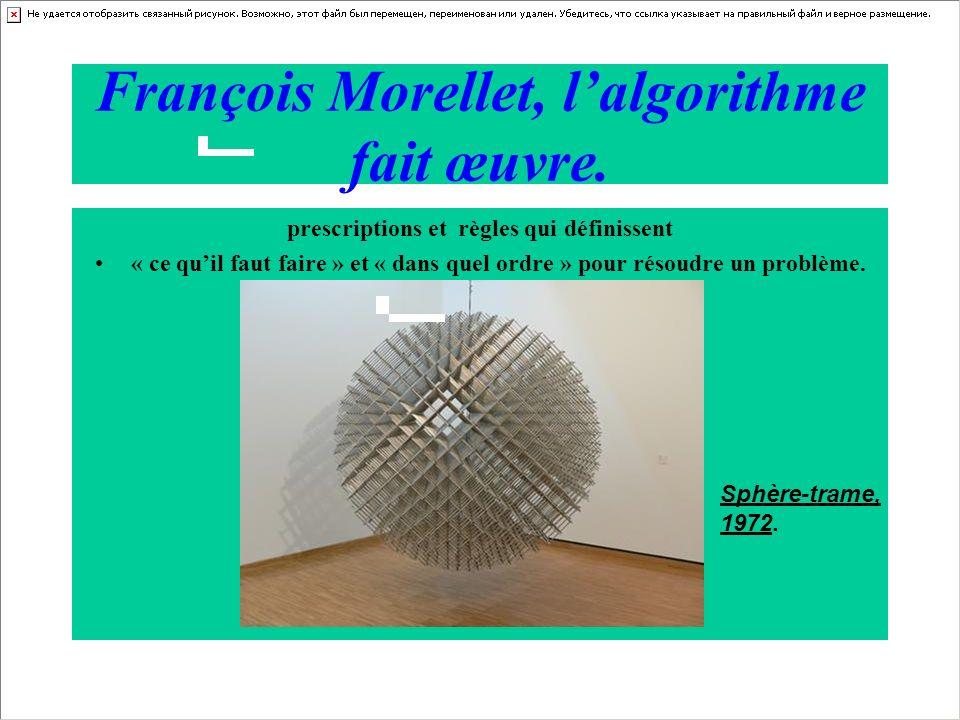 François Morellet, lalgorithme fait œuvre. prescriptions et règles qui définissent « ce quil faut faire » et « dans quel ordre » pour résoudre un prob