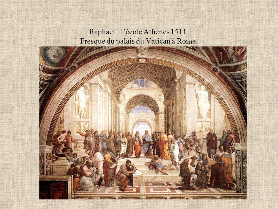 Raphaël: lécole Athènes 1511. Fresque du palais du Vatican à Rome.