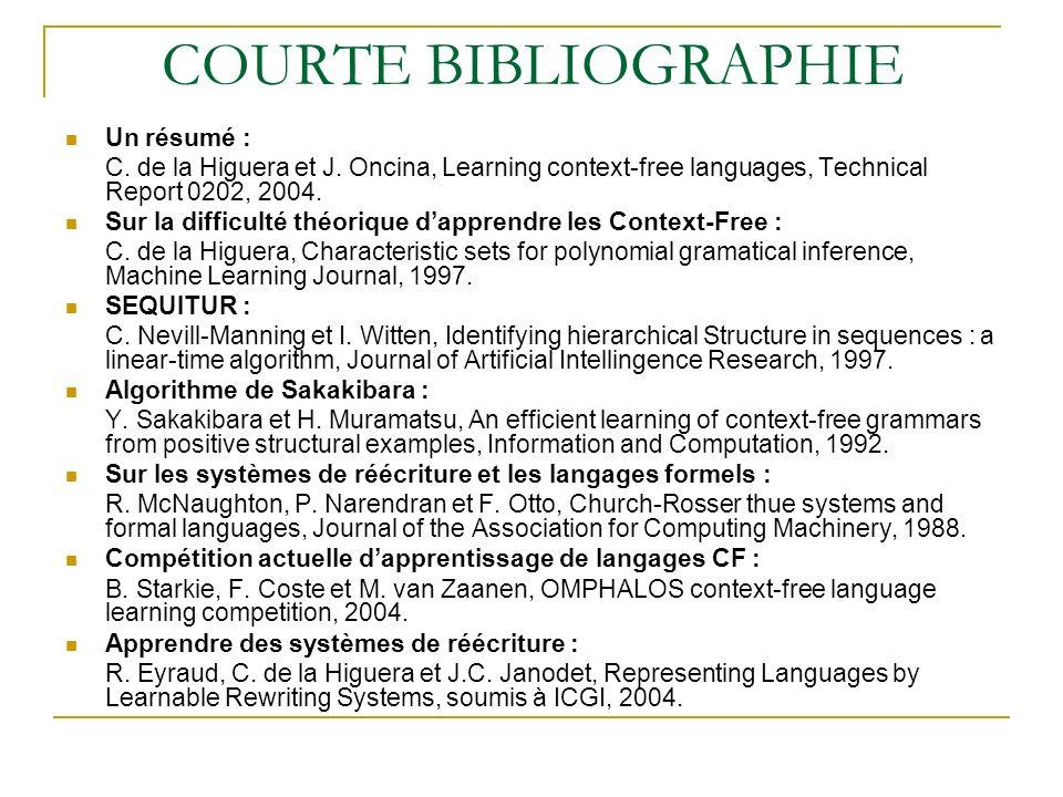 DAUTRES REPÈRES BIBLIOGRAPHIQUES Apprentissage de sous classes des CF : Y.
