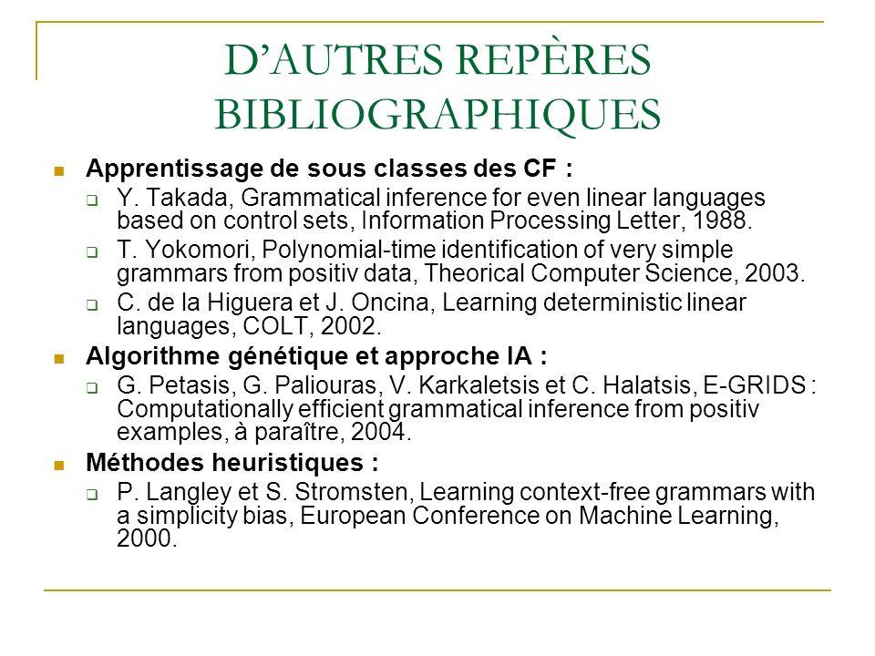 DAUTRES REPÈRES BIBLIOGRAPHIQUES Apprentissage de sous classes des CF : Y. Takada, Grammatical inference for even linear languages based on control se