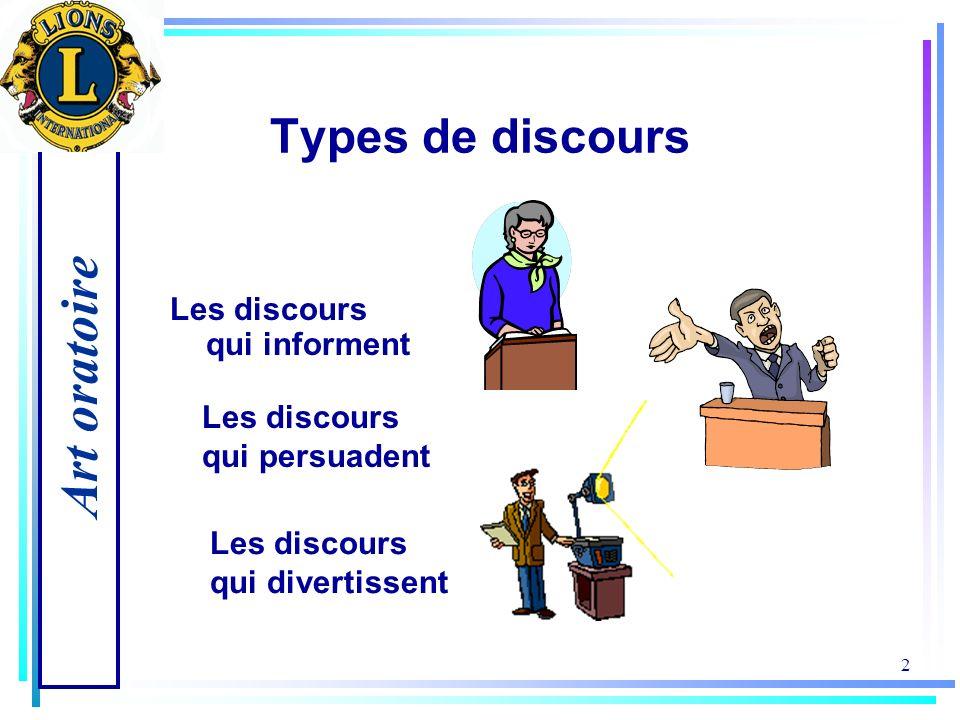 Art oratoire 2 Types de discours Les discours qui informent Les discours qui persuadent Les discours qui divertissent