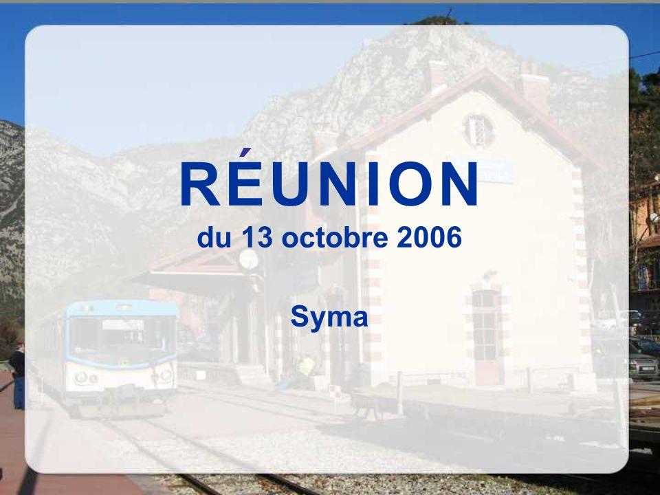 R E U N I O N du 13 octobre 2006 Syma