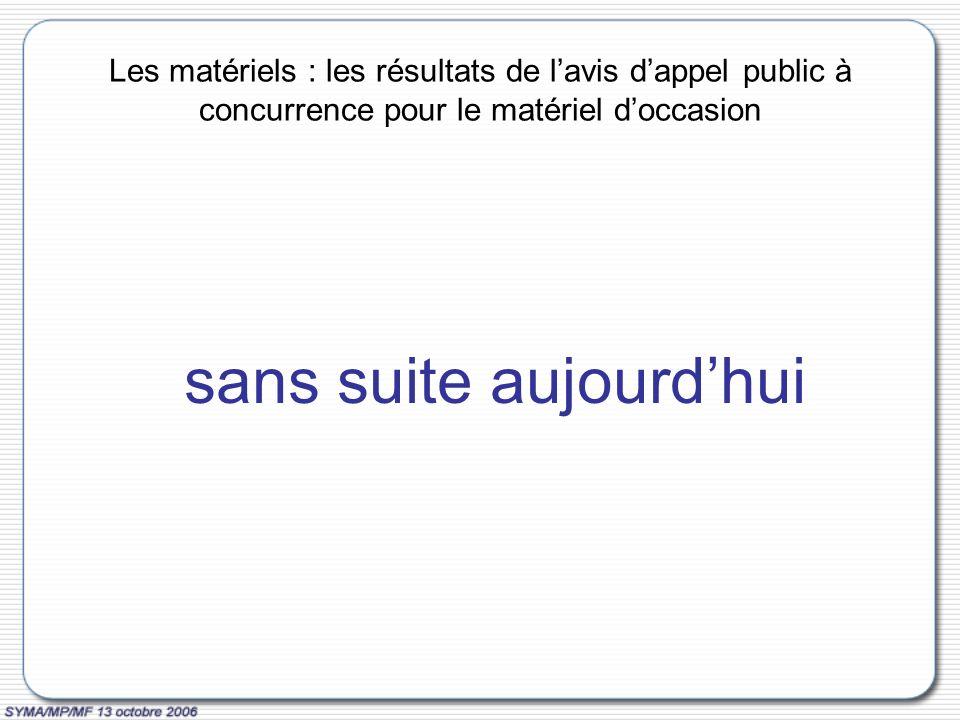 Les matériels : les résultats de lavis dappel public à concurrence pour le matériel doccasion sans suite aujourdhui