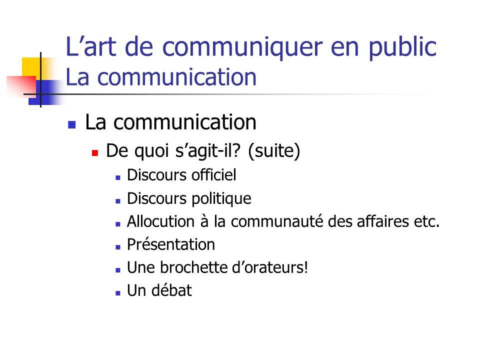 Lart de communiquer en public La communication La communication De quoi sagit-il? (suite) Discours officiel Discours politique Allocution à la communa