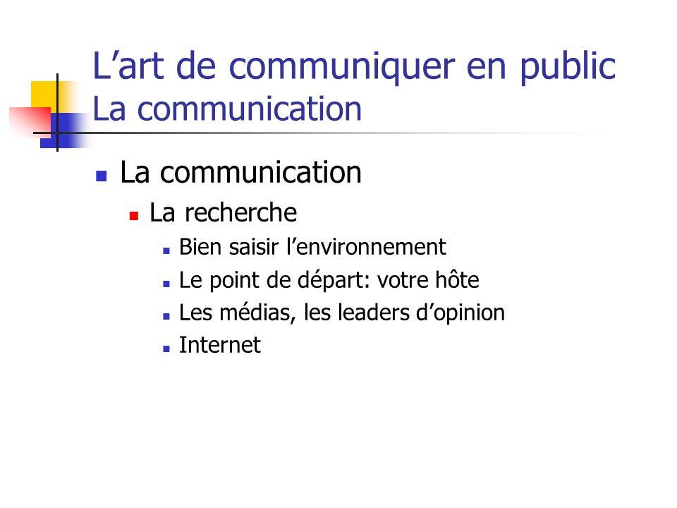 Lart de communiquer en public La communication La communication La recherche Bien saisir lenvironnement Le point de départ: votre hôte Les médias, les