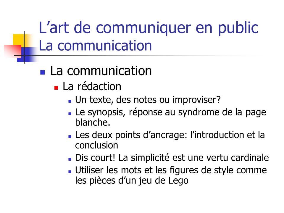 Lart de communiquer en public La communication La communication La rédaction Un texte, des notes ou improviser? Le synopsis, réponse au syndrome de la