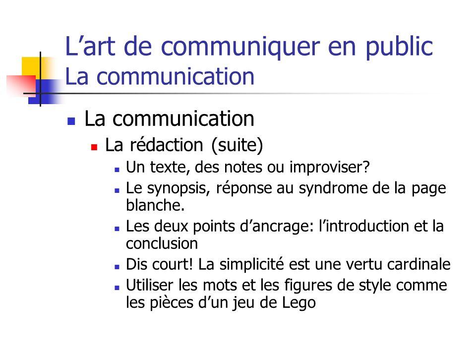 Lart de communiquer en public La communication La communication La rédaction (suite) Un texte, des notes ou improviser? Le synopsis, réponse au syndro