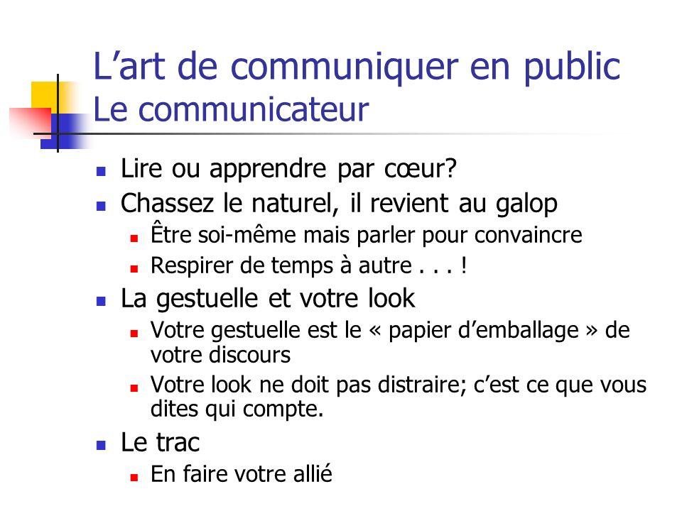 Lart de communiquer en public Le communicateur Lire ou apprendre par cœur? Chassez le naturel, il revient au galop Être soi-même mais parler pour conv