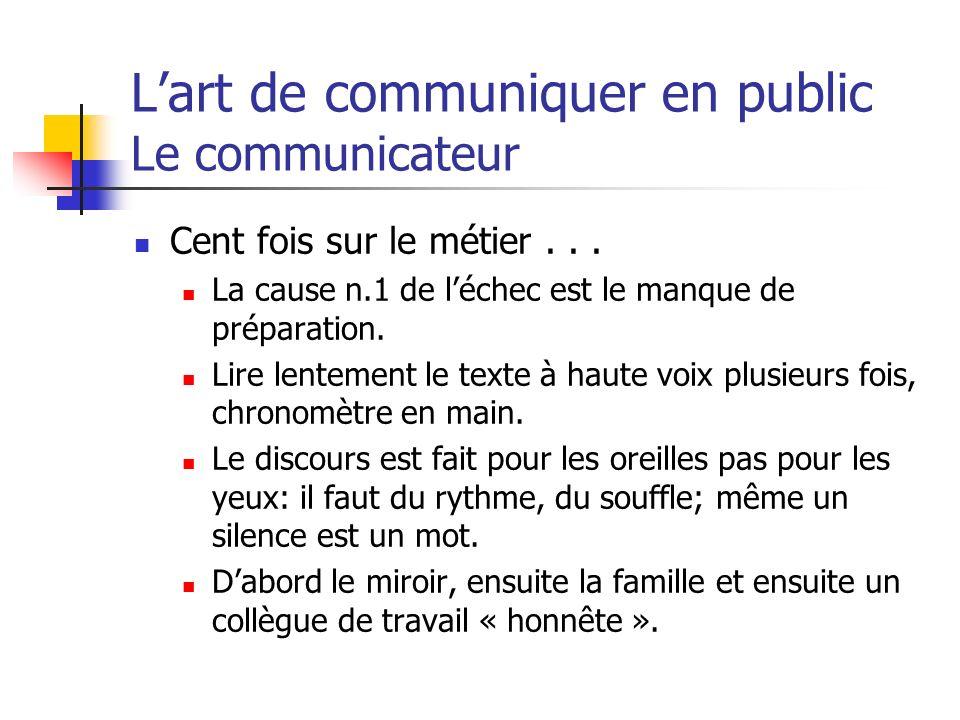 Lart de communiquer en public Le communicateur Cent fois sur le métier... La cause n.1 de léchec est le manque de préparation. Lire lentement le texte