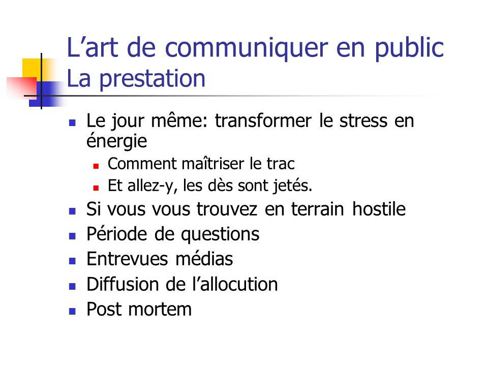 Lart de communiquer en public La prestation Le jour même: transformer le stress en énergie Comment maîtriser le trac Et allez-y, les dès sont jetés. S