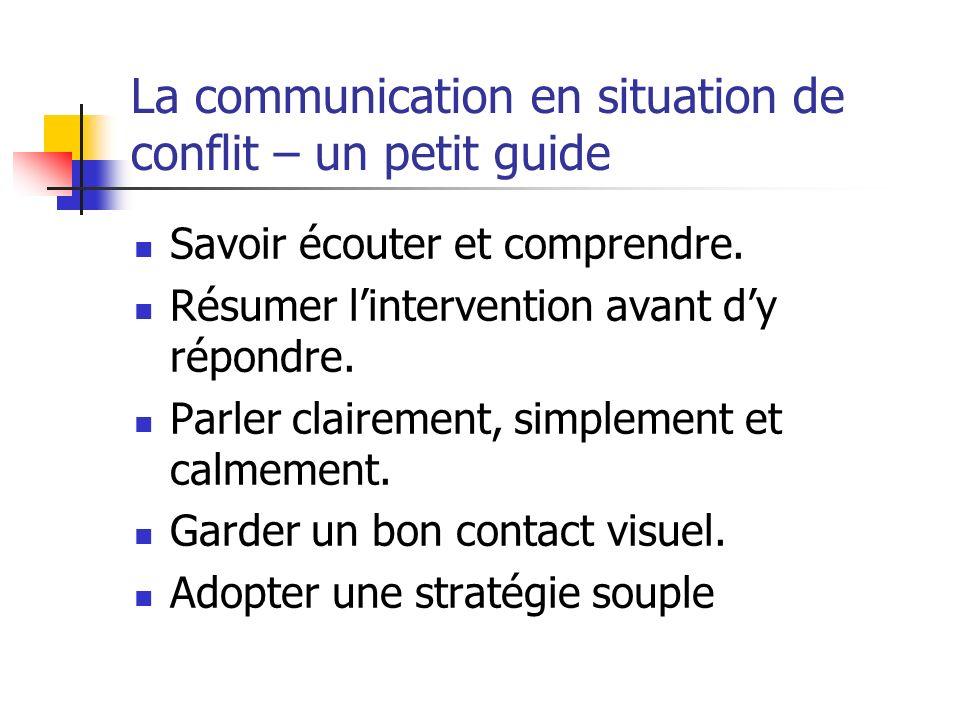La communication en situation de conflit – un petit guide Savoir écouter et comprendre. Résumer lintervention avant dy répondre. Parler clairement, si