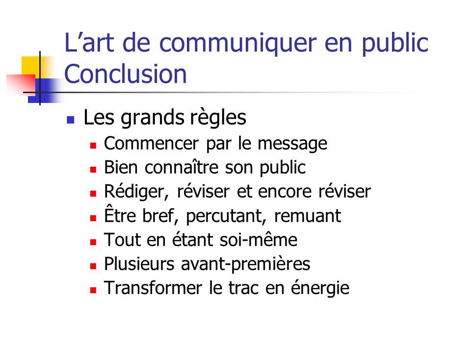 Lart de communiquer en public Conclusion Les grands règles Commencer par le message Bien connaître son public Rédiger, réviser et encore réviser Être