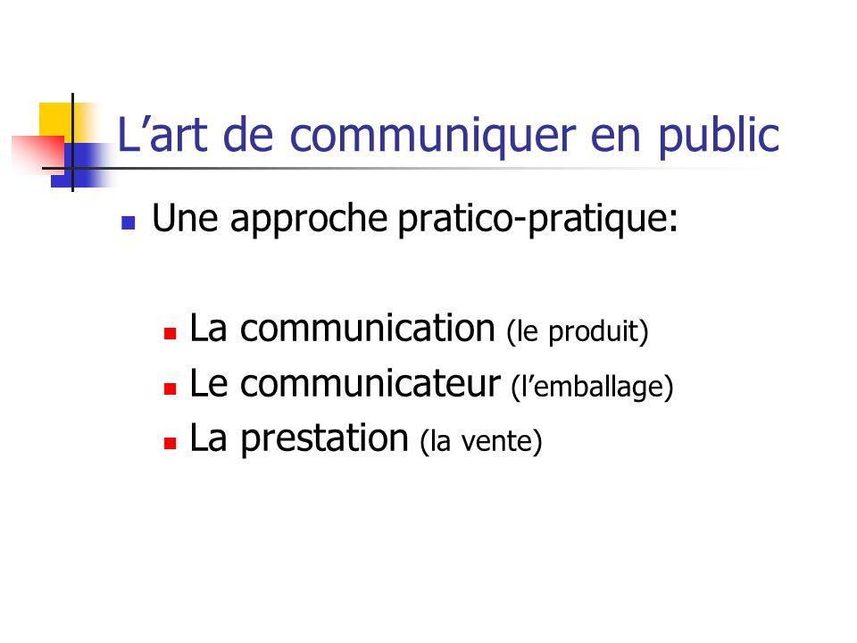 Lart de communiquer en public Une approche pratico-pratique: La communication (le produit) Le communicateur (lemballage) La prestation (la vente)
