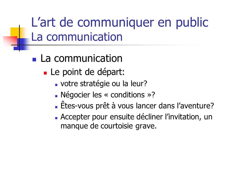 Lart de communiquer en public La communication La communication Le point de départ: votre stratégie ou la leur? Négocier les « conditions »? Êtes-vous