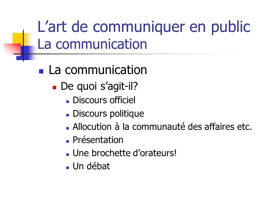 Lart de communiquer en public La communication La communication De quoi sagit-il? Discours officiel Discours politique Allocution à la communauté des