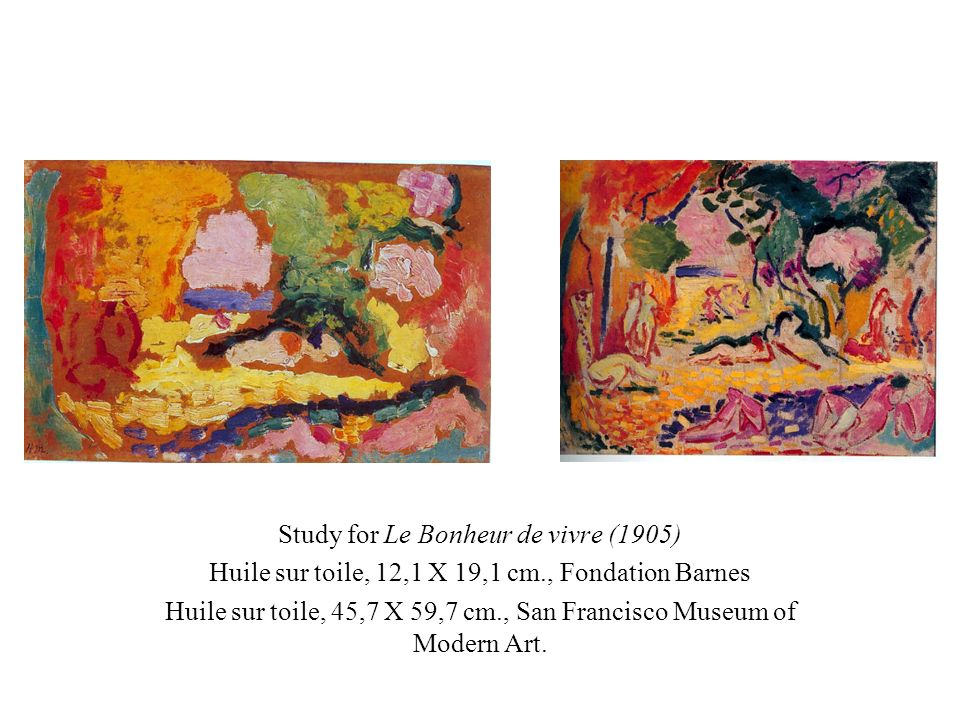 Study for Le Bonheur de vivre (1905) Huile sur toile, 12,1 X 19,1 cm., Fondation Barnes Huile sur toile, 45,7 X 59,7 cm., San Francisco Museum of Mode