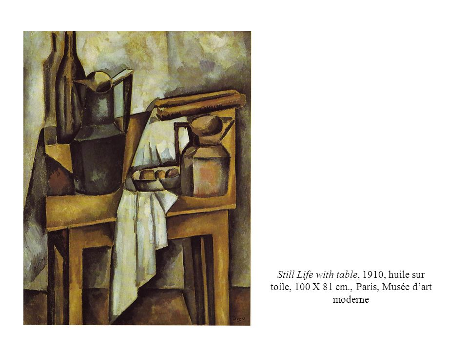 Still Life with table, 1910, huile sur toile, 100 X 81 cm., Paris, Musée dart moderne