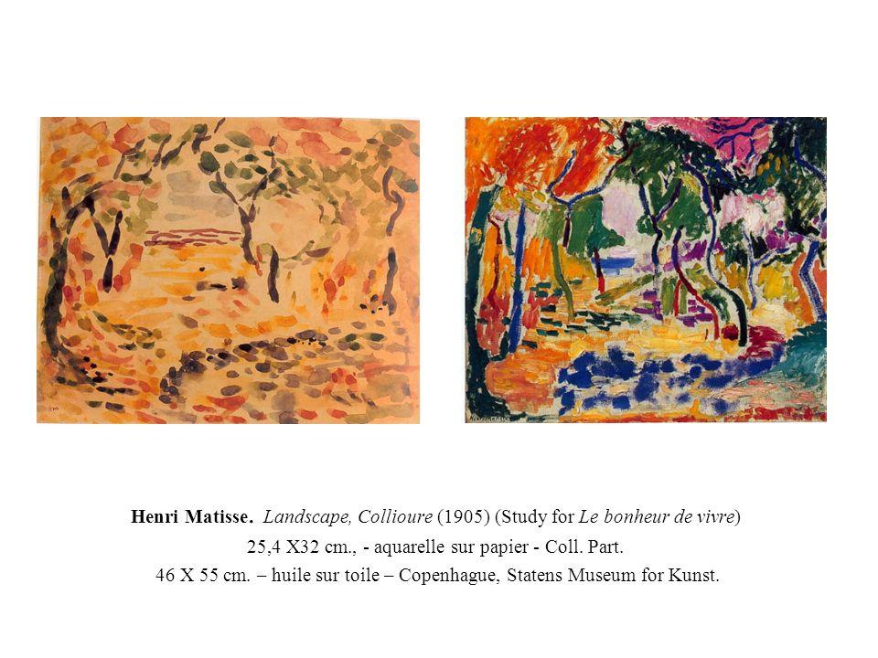 Henri Matisse. Landscape, Collioure (1905) (Study for Le bonheur de vivre) 25,4 X32 cm., - aquarelle sur papier - Coll. Part. 46 X 55 cm. – huile sur